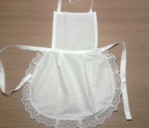 Ladie full white 50.s style apron waitress Victorian Edwardian vintage Maid